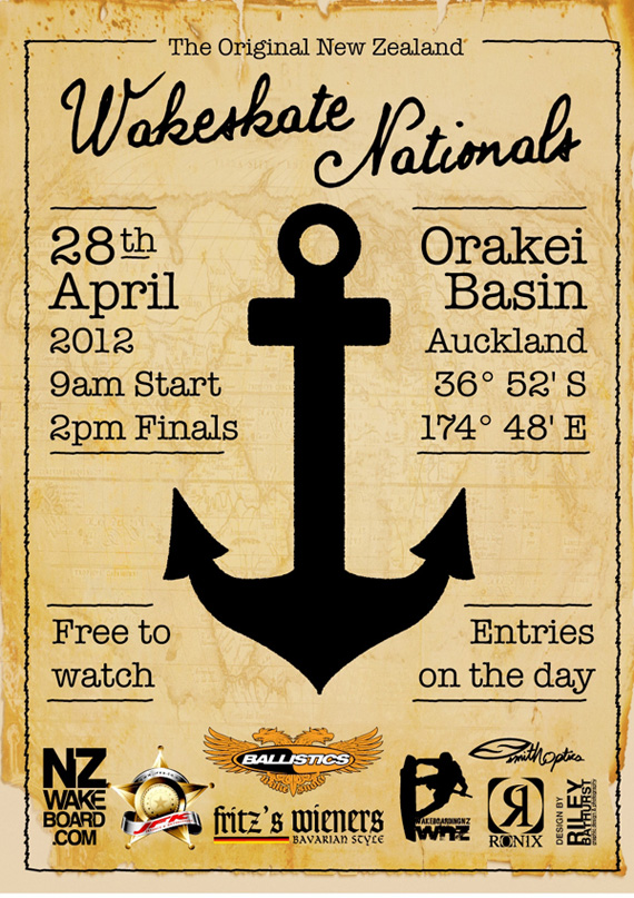 New Zealand Wakeskate Nationals on April 28, 2012